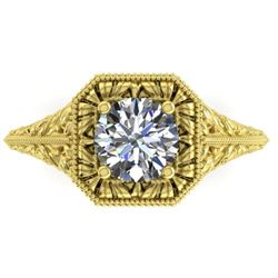 1 CTW Solitaire Certified VS/SI Diamond Ring 14K Yellow Gold - REF-289W6H - 38528