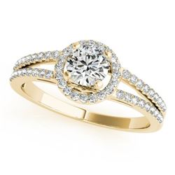 0.75 CTW Certified VS/SI Diamond Solitaire Halo Ring 18K Yellow Gold - REF-118W9H - 26678