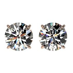 2 CTW Certified H-SI/I Quality Diamond Solitaire Stud Earrings 10K Rose Gold - REF-285V2Y - 33081