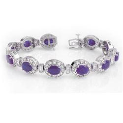 16.0 CTW Tanzanite & Diamond Bracelet 14K White Gold - REF-436X4R - 14196