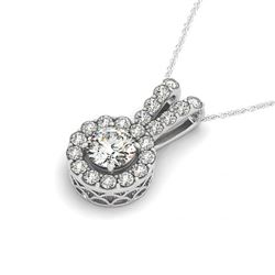 1.50 CTW Certified SI Diamond Solitaire Halo Necklace 14K White Gold - REF-200H2M - 30226