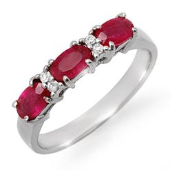 1.09 CTW Ruby & Diamond Ring 18K White Gold - REF-38F2N - 12367