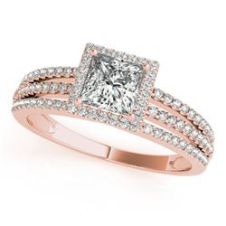 0.95 CTW Certified VS/SI Princess Diamond Solitaire Halo Ring 18K Rose Gold - REF-138V5Y - 27178
