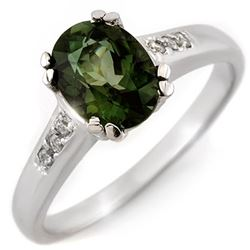 1.60 CTW Green Tourmaline & Diamond Ring 10K White Gold - REF-36M4F - 11636
