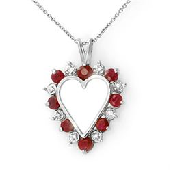 1.01 CTW Ruby & Diamond Pendant 18K White Gold - REF-42W4H - 12613