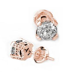 2.0 CTW Certified VS/SI Diamond Solitaire Stud Earrings 14K Rose Gold - REF-457V2Y - 10455