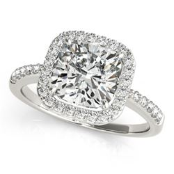 0.60 CTW Certified VS/SI Cushion Diamond Solitaire Halo Ring 18K White Gold - REF-90N9A - 27111