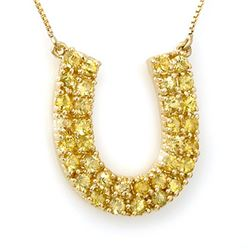 2.0 CTW Yellow Sapphire Necklace 10K Yellow Gold - REF-47H3M - 11709