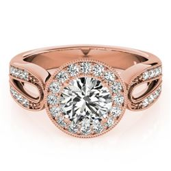 1.40 CTW Certified VS/SI Diamond Solitaire Halo Ring 18K Rose Gold - REF-418W2H - 27079