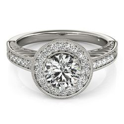 0.81 CTW Certified VS/SI Diamond Solitaire Halo Ring 18K White Gold - REF-107V3Y - 26518