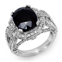 8.50 CTW Blue Sapphire & Diamond Ring 14K White Gold - REF-175M3F - 11898