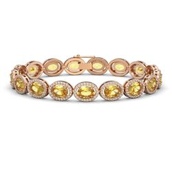 20.36 CTW Fancy Citrine & Diamond Bracelet Rose Gold 10K Rose Gold - REF-246H7M - 40644
