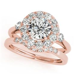 1.62 CTW Certified VS/SI Diamond 2Pc Wedding Set Solitaire Halo 14K Rose Gold - REF-400W4H - 30766