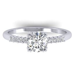 0.93 CTW Certified VS/SI Diamond Solitaire Art Deco Ring 14K White Gold - REF-171F3N - 30456