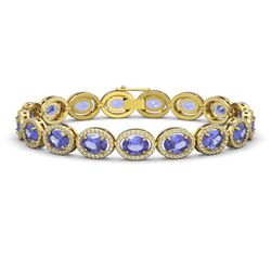 21.35 CTW Tanzanite & Diamond Bracelet Yellow Gold 10K Yellow Gold - REF-353M6F - 40612