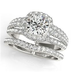 2.19 CTW Certified VS/SI Diamond 2Pc Wedding Set Solitaire Halo 14K White Gold - REF-429K3W - 31142