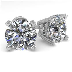 2.0 CTW VS/SI Diamond Stud Designer Earrings 18K White Gold - REF-538X3R - 32301