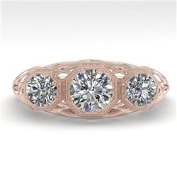 1.0 CTW Past Present Future VS/SI Diamond Ring 18K Rose Gold - REF-162N9A - 36056