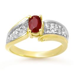 1.43 CTW Ruby & Diamond Ring 10K Yellow Gold - REF-46Y4X - 13342