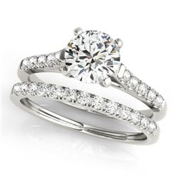 1.45 CTW Certified VS/SI Diamond Solitaire 2Pc Wedding Set 14K White Gold - REF-373H8M - 31694