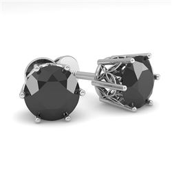 2.0 CTW Black Certified Diamond Stud Solitaire Earrings 18K White Gold - REF-64H7M - 35850