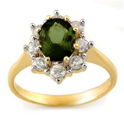 2.50 CTW Green Tourmaline & Diamond Ring 14K Yellow Gold - REF-74Y5X - 11108