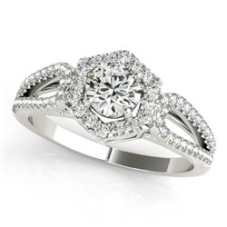0.90 CTW Certified VS/SI Diamond Solitaire Halo Ring 18K White Gold - REF-137X3R - 26754