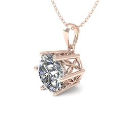 0.50 CTW VS/SI Diamond Solitaire Necklace 18K Rose Gold - REF-84F9N - 35858