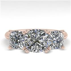 2.0 CTW Cushion Cut VS/SI Diamond 3 Stone Designer Ring 18K Rose Gold - REF-447R2K - 32474