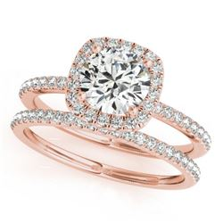 1.20 CTW Certified VS/SI Diamond 2Pc Wedding Set Solitaire Halo 14K Rose Gold - REF-195H6M - 30658