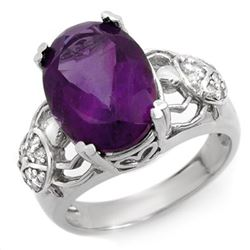 6.20 CTW Amethyst & Diamond Ring 10K White Gold - REF-52X7R - 10478
