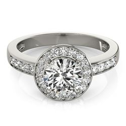 1.20 CTW Certified VS/SI Diamond Solitaire Halo Ring 18K White Gold - REF-214H5M - 26967