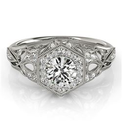 0.90 CTW Certified VS/SI Diamond Solitaire Halo Ring 18K White Gold - REF-145V5Y - 26862