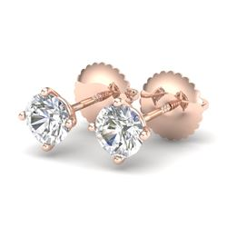 0.65 CTW VS/SI Diamond Solitaire Art Deco Stud Earrings 18K Rose Gold - REF-97Y3X - 37296
