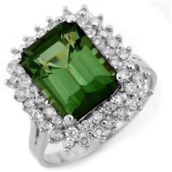 4.75 CTW Green Tourmaline & Diamond Ring 18K White Gold - REF-134W7H - 11698