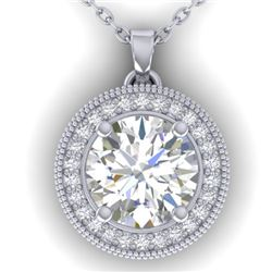 2 CTW I-SI Diamond Solitaire Art Deco Micro Halo Necklace 14K White Gold - REF-559Y6X - 30531