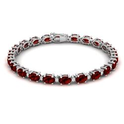 19.7 CTW Garnet & VS/SI Certified Diamond Eternity Bracelet 10K White Gold - REF-98H2M - 29368