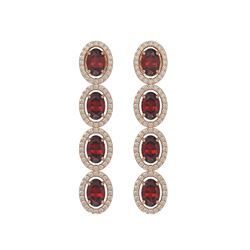 6.2 CTW Garnet & Diamond Earrings Rose Gold 10K Rose Gold - REF-102V5Y - 40548