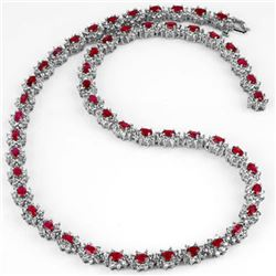 27.10 CTW Ruby & Diamond Necklace 18K White Gold - REF-976N7A - 13166