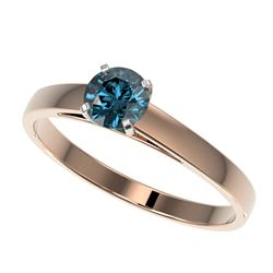 0.54 CTW Certified Intense Blue SI Diamond Solitaire Engagement Ring 10K Rose Gold - REF-50N3A - 364