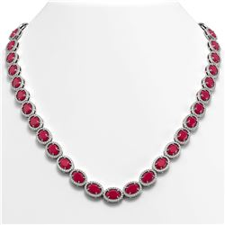 52.15 CTW Ruby & Diamond Necklace White Gold 10K White Gold - REF-655X3R - 40556