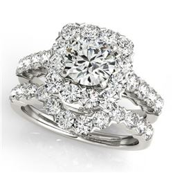 2.12 CTW Certified VS/SI Diamond 2Pc Wedding Set Solitaire Halo 14K White Gold - REF-187V3Y - 30666