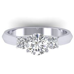 1.50 CTW Certified VS/SI Diamond Solitaire 3 Stone Ring 14K White Gold - REF-395V5Y - 30312