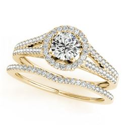 0.96 CTW Certified VS/SI Diamond 2Pc Wedding Set Solitaire Halo 14K Yellow Gold - REF-134K9W - 31042