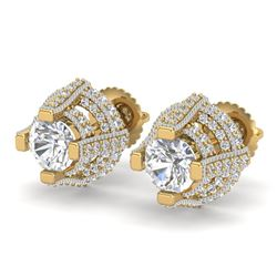 2.75 CTW VS/SI Diamond Micro Pave Stud Earrings 18K Yellow Gold - REF-320A2V - 36952
