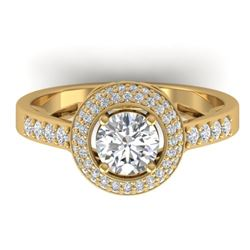 1.45 CTW Certified VS/SI Diamond Art Deco Micro Halo Ring 14K Yellow Gold - REF-217N3A - 30488