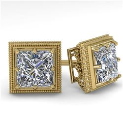1.0 CTW VS/SI Princess Diamond Stud Solitaire Earrings 18K Yellow Gold - REF-187R5K - 35962