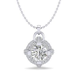 1.57 CTW VS/SI Diamond Micro Pave Stud Necklace 18K White Gold - REF-229R3K - 36953