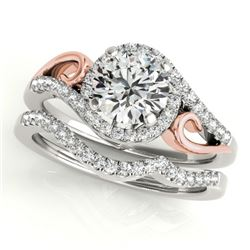 0.95 CTW Certified VS/SI Diamond 2Pc Set Solitaire Halo 14K White & Rose Gold - REF-130R2K - 31199