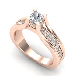 1.01 CTW Cushion VS/SI Diamond Solitaire Micro Pave Ring 18K Rose Gold - REF-200H2M - 37161